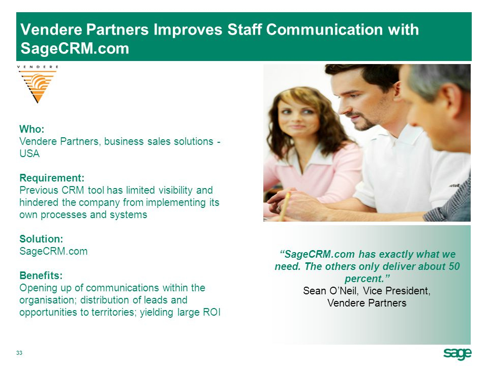 Vendere Partners Improves Staff Communication with SageCRM.com