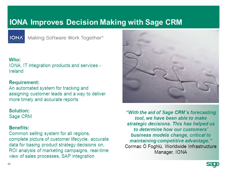 IONA Improves Decision Making with Sage CRM