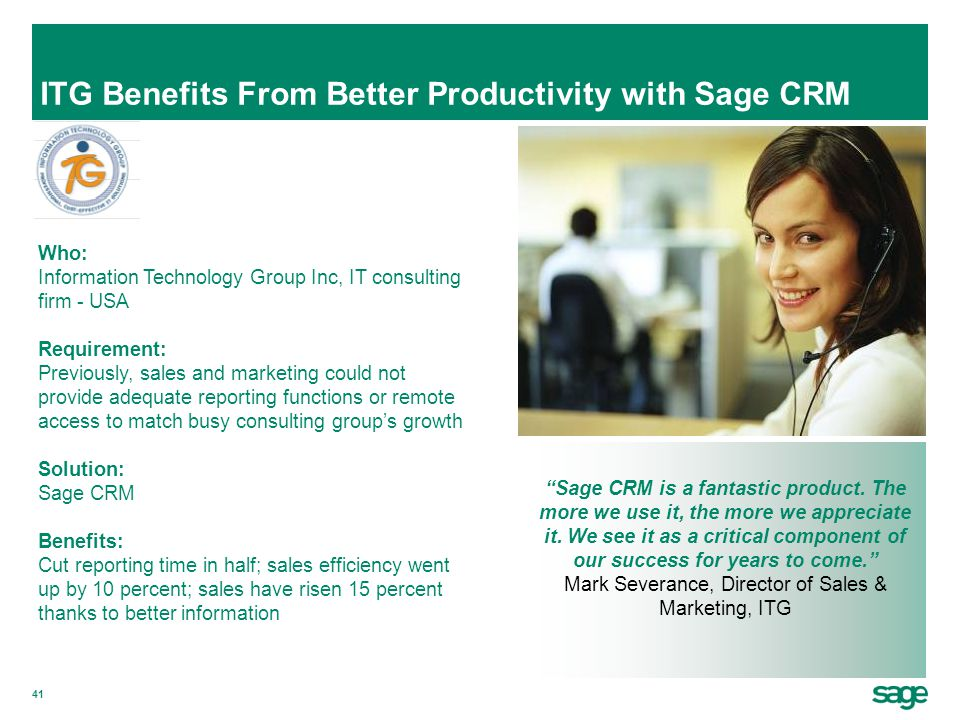 ITG Benefits From Better Productivity with Sage CRM
