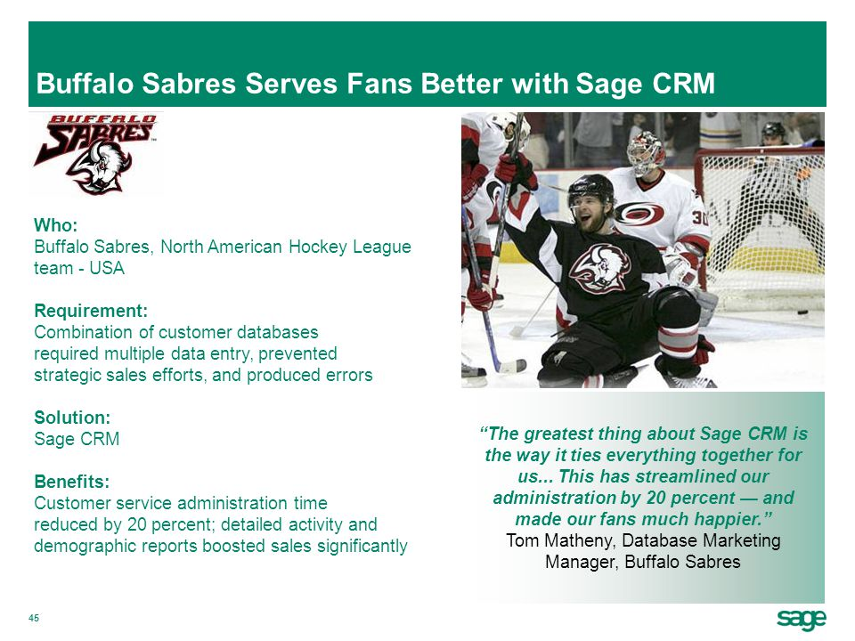 Buffalo Sabres Serves Fans Better with Sage CRM