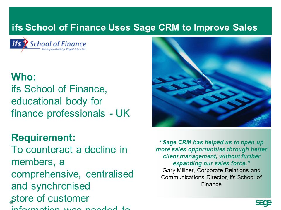ifs School of Finance Uses Sage CRM to Improve Sales