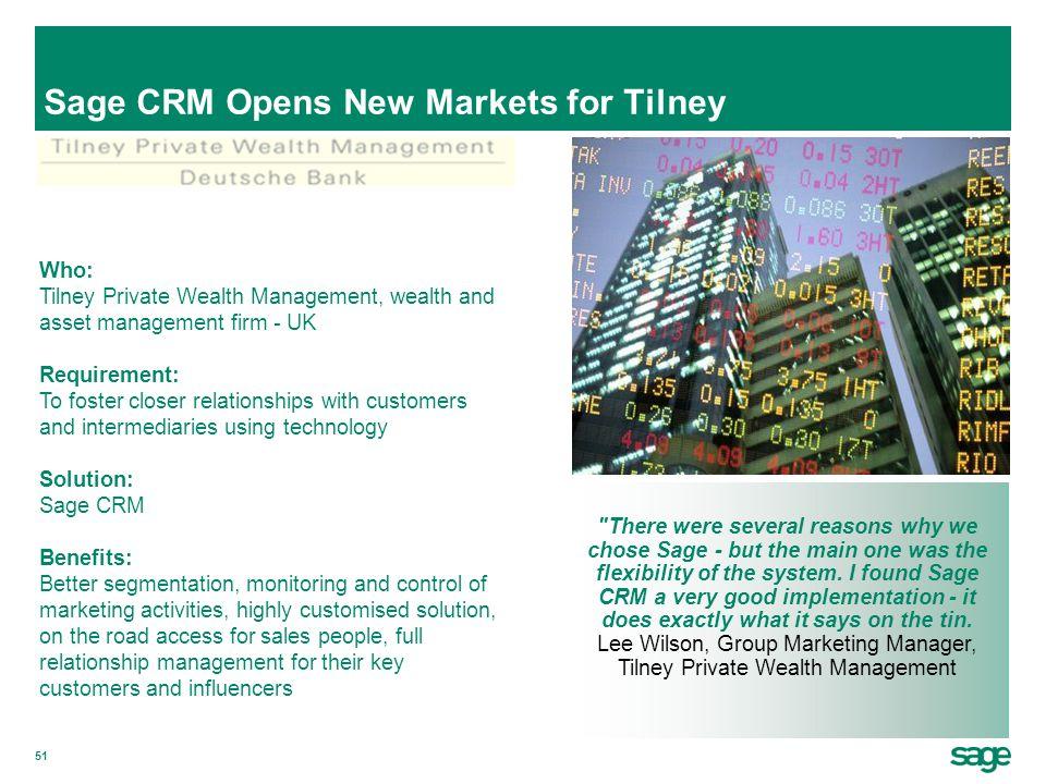Sage CRM Opens New Markets for Tilney