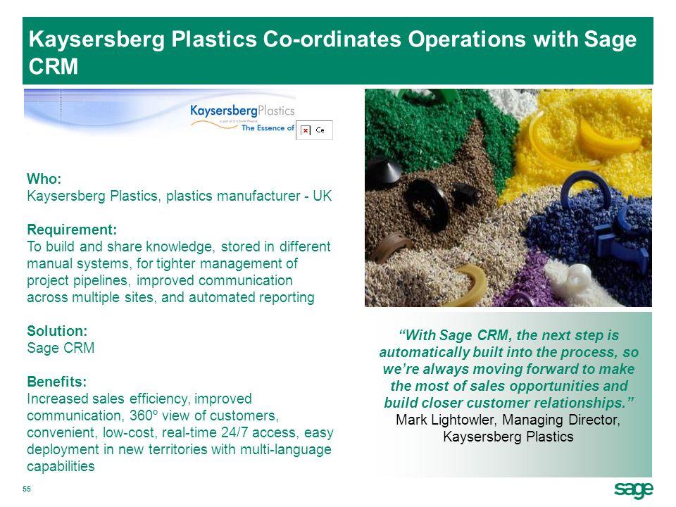 Kaysersberg Plastics Co-ordinates Operations with Sage CRM