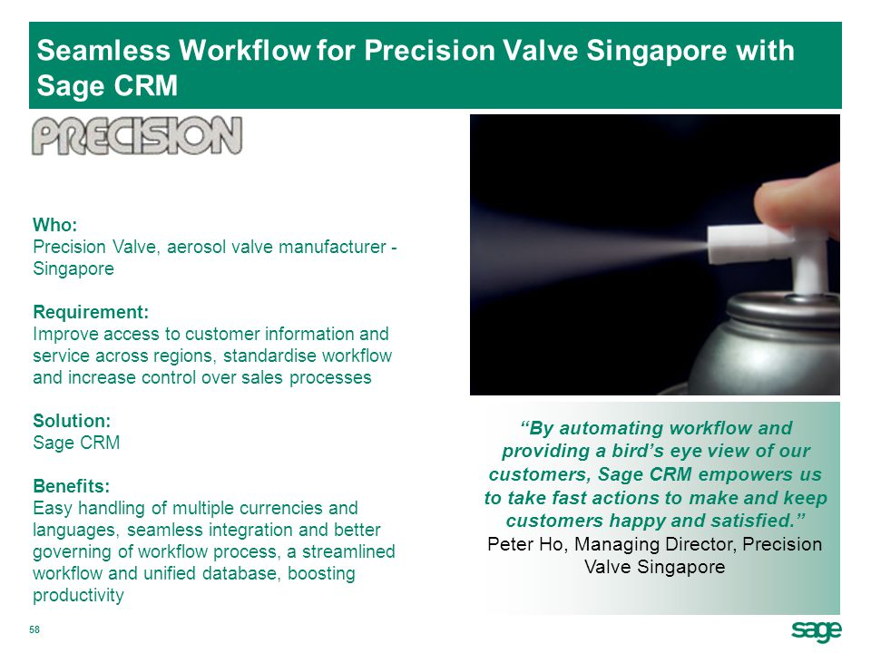 Seamless Workflow for Precision Valve Singapore with Sage CRM