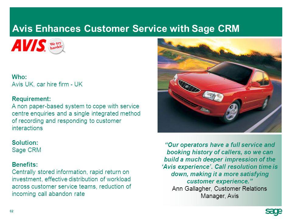 Avis Enhances Customer Service with Sage CRM
