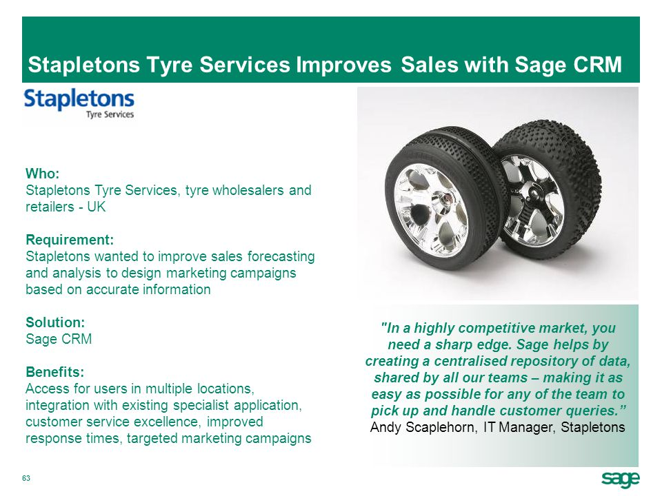 Stapletons Tyre Services Improves Sales with Sage CRM