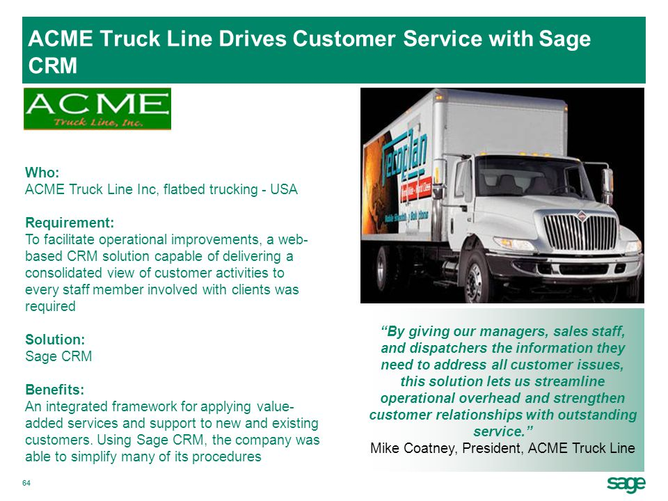 ACME Truck Line Drives Customer Service with Sage CRM