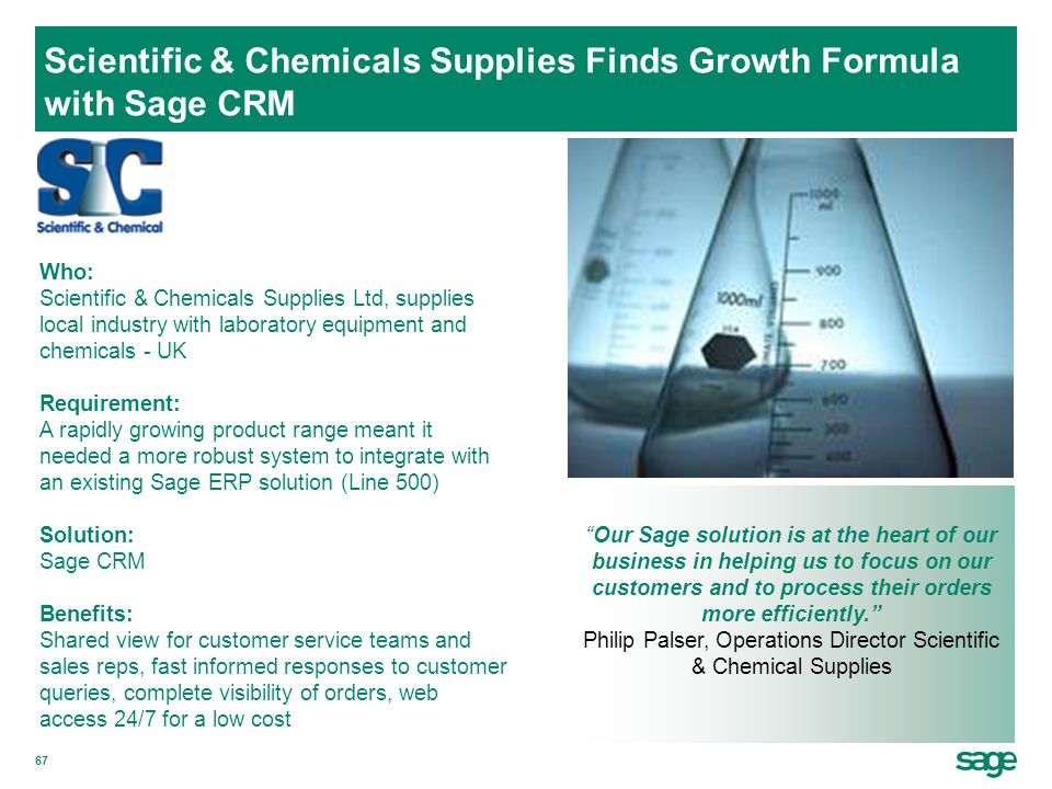 Scientific & Chemicals Supplies Finds Growth Formula with Sage CRM
