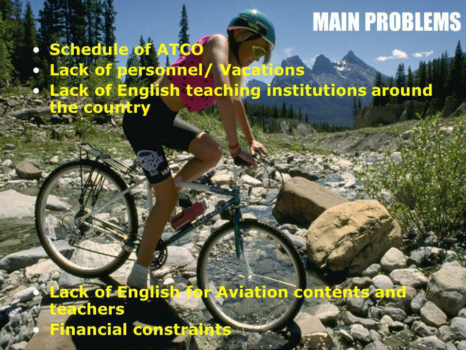 MAIN PROBLEMS Schedule of ATCO Lack of personnel/ Vacations