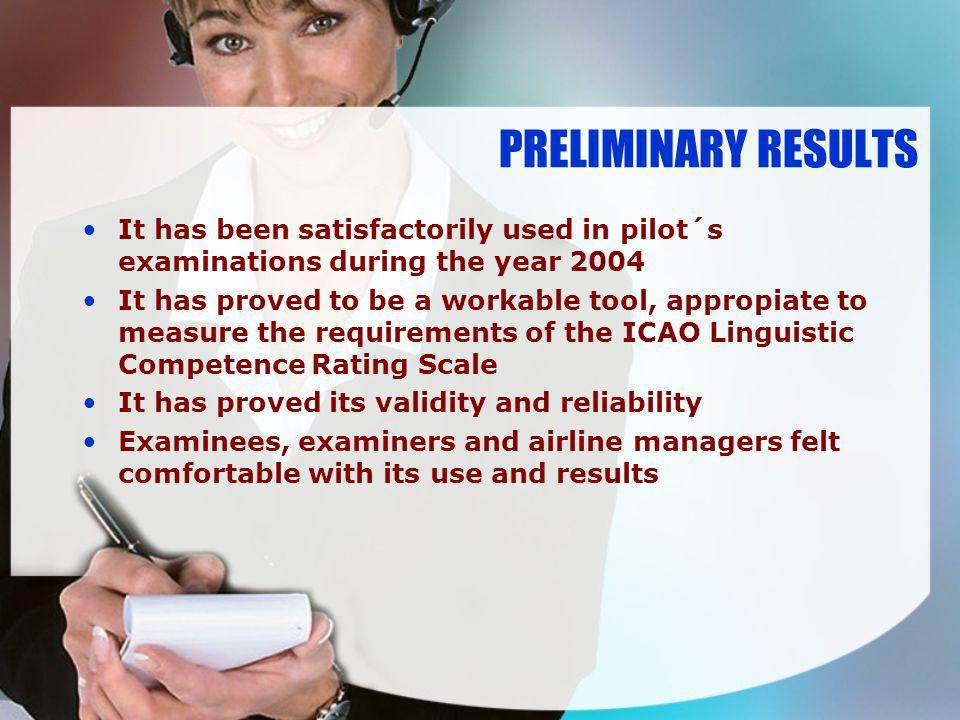 PRELIMINARY RESULTS It has been satisfactorily used in pilot´s examinations during the year 2004.