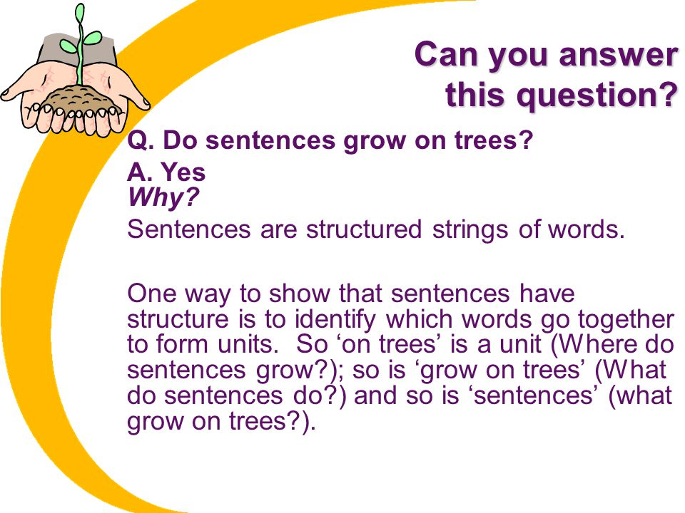 Can you answer this question Q. Do sentences grow on trees A. Yes