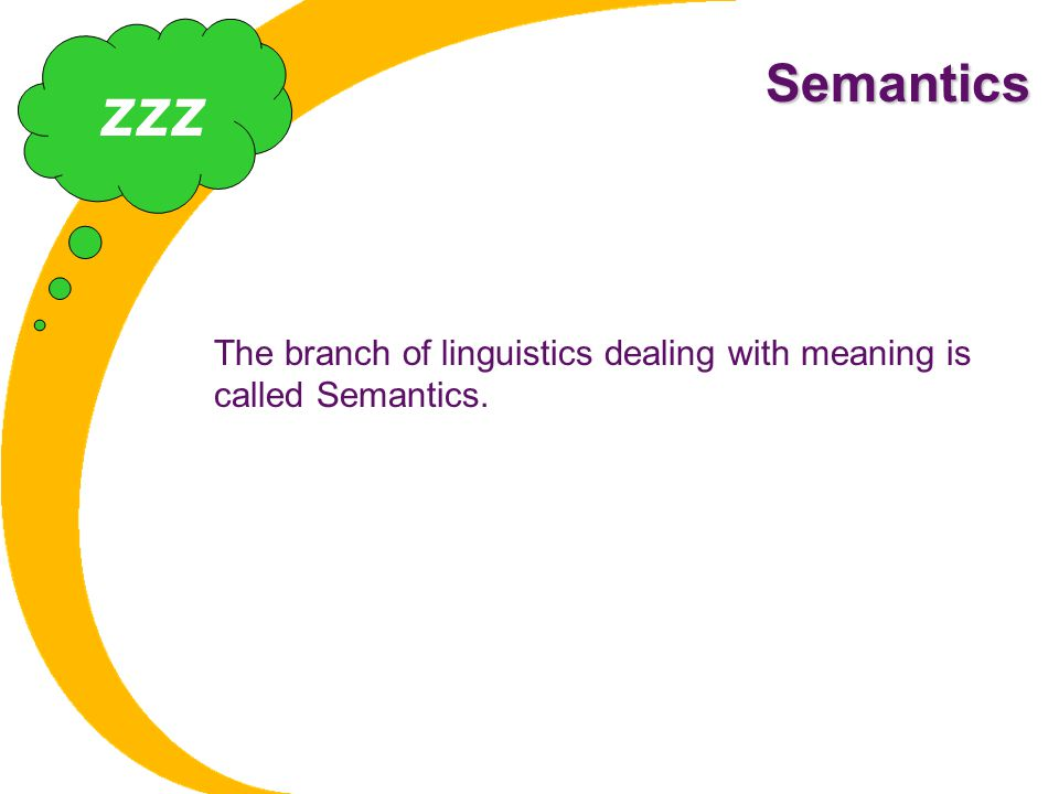 Semantics zzz The branch of linguistics dealing with meaning is called Semantics.