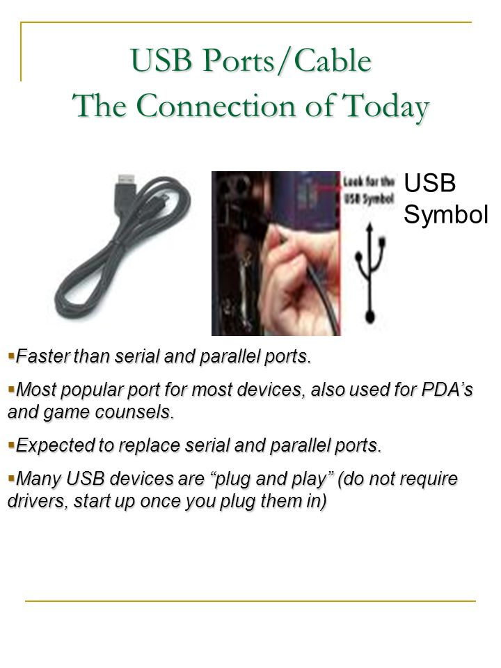 USB Ports/Cable The Connection of Today