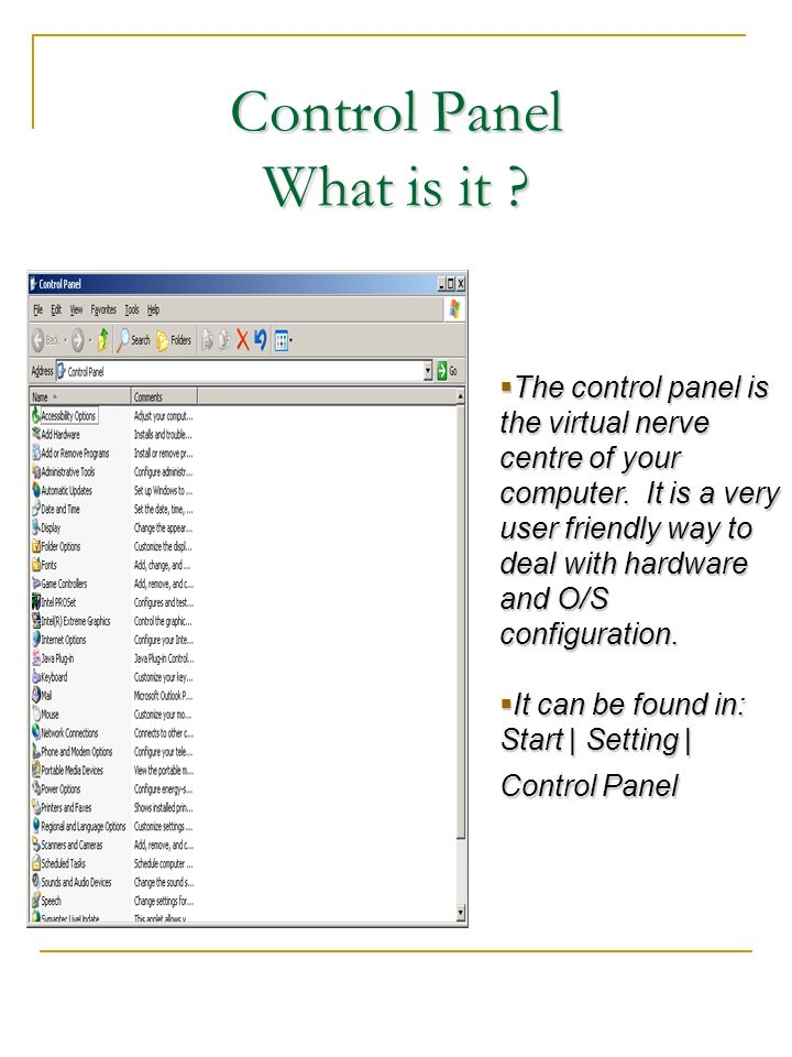 Control Panel What is it