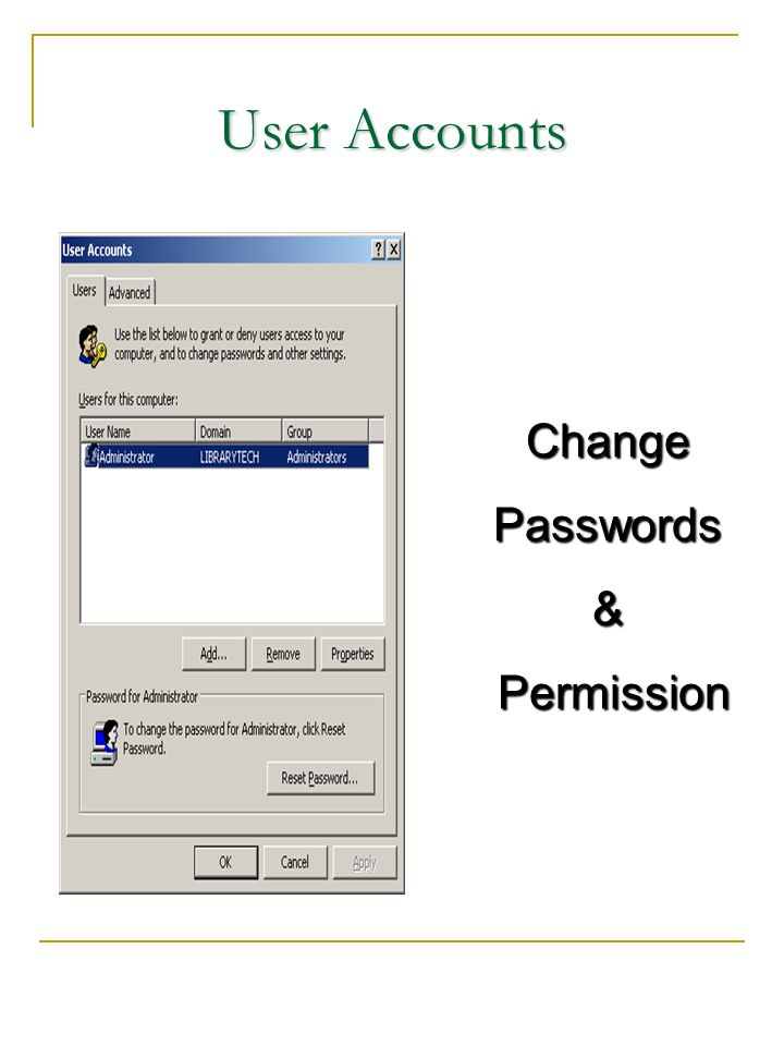 User Accounts Change Passwords & Permission