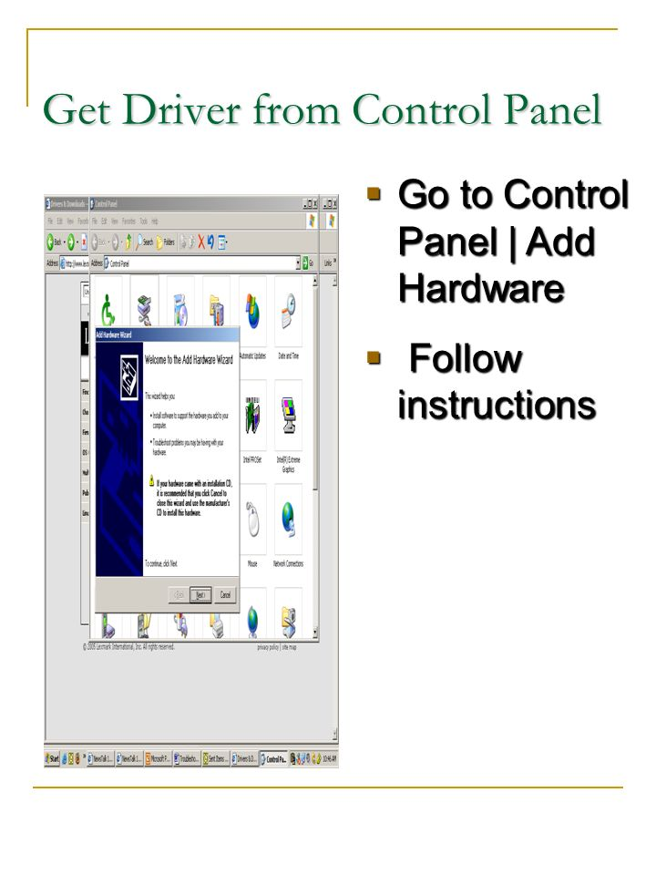 Get Driver from Control Panel