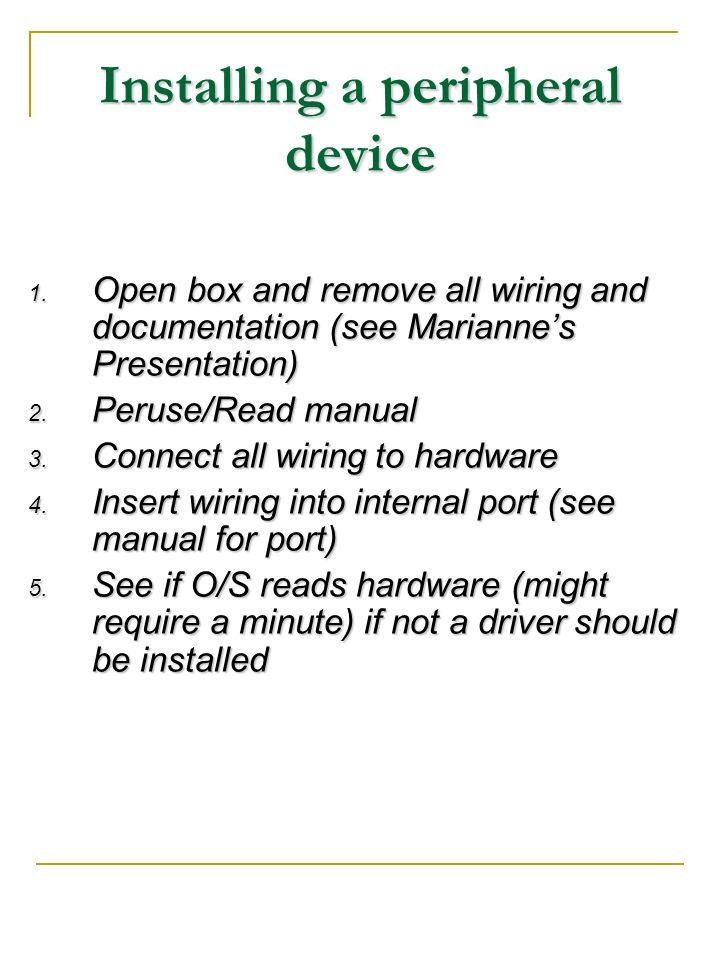 Installing a peripheral device
