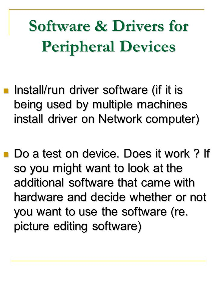 Software & Drivers for Peripheral Devices
