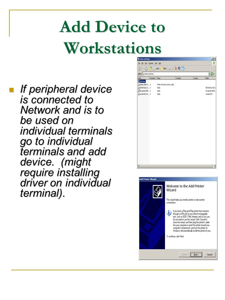 Add Device to Workstations