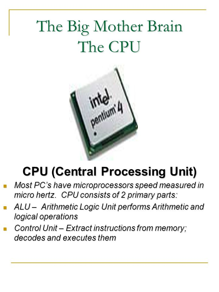 The Big Mother Brain The CPU