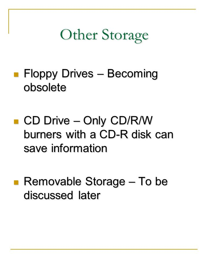 Other Storage Floppy Drives – Becoming obsolete
