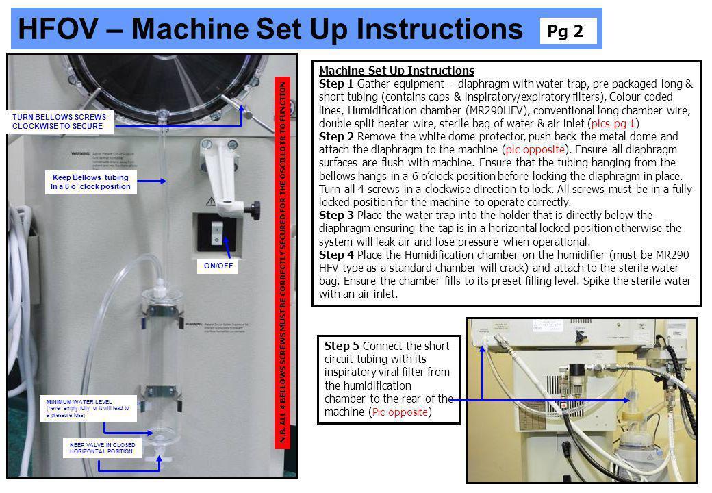 HFOV – Machine Set Up Instructions
