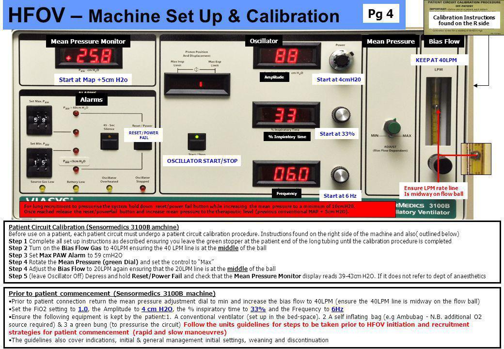 Calibration Instructions found on the R side OSCILLATOR START/STOP