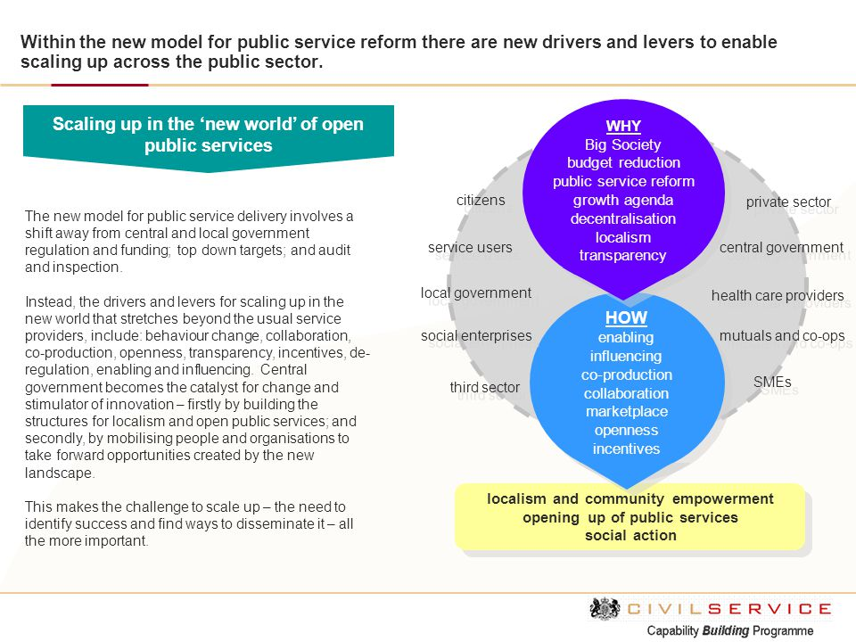Scaling up in the 'new world' of open public services