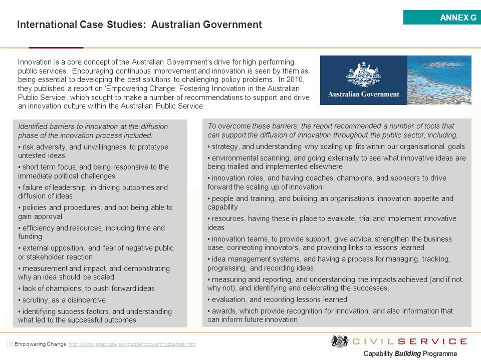 International Case Studies: Australian Government