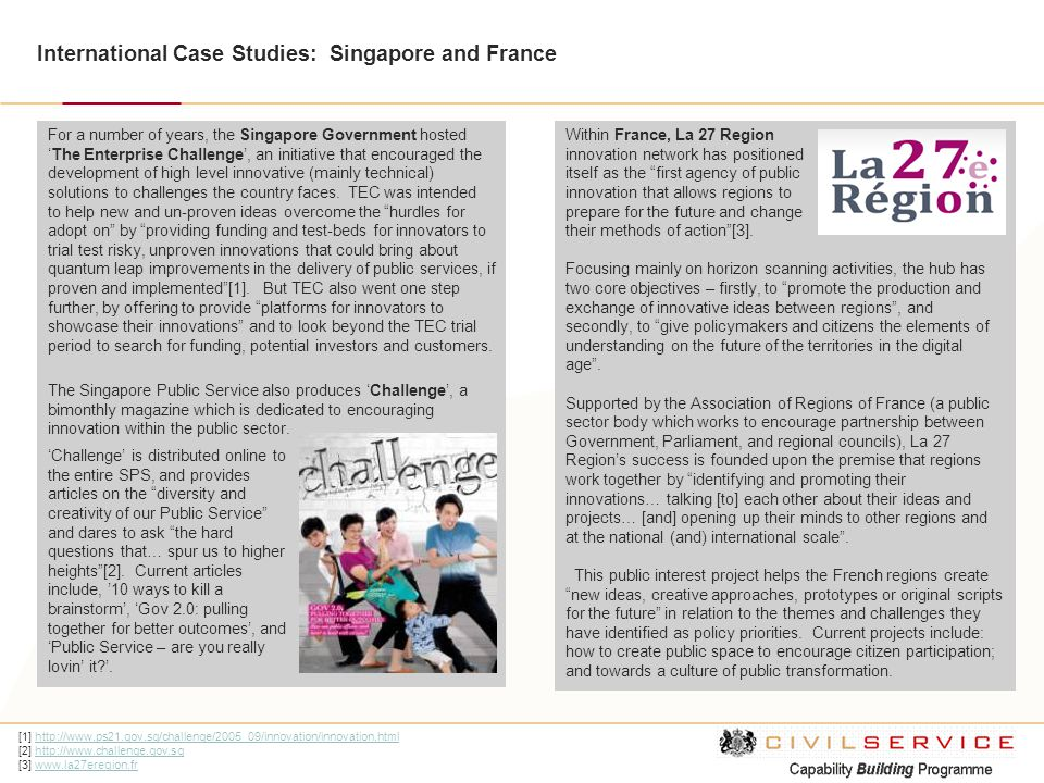 International Case Studies: Singapore and France