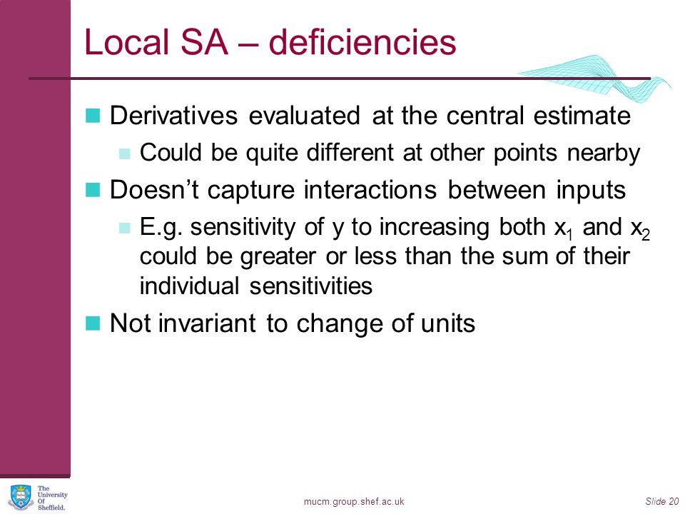 Local SA – deficiencies