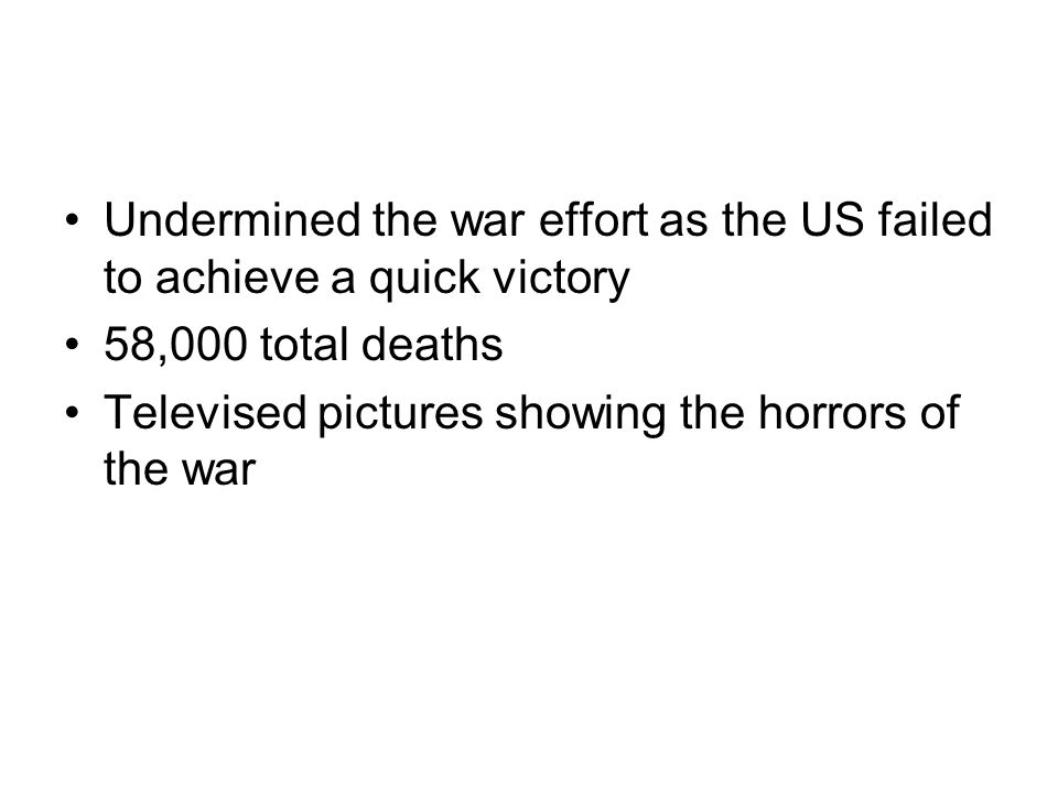 Undermined the war effort as the US failed to achieve a quick victory