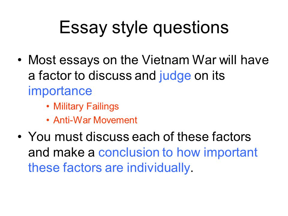 Essay Questions About The Vietnam War The Vietnam War