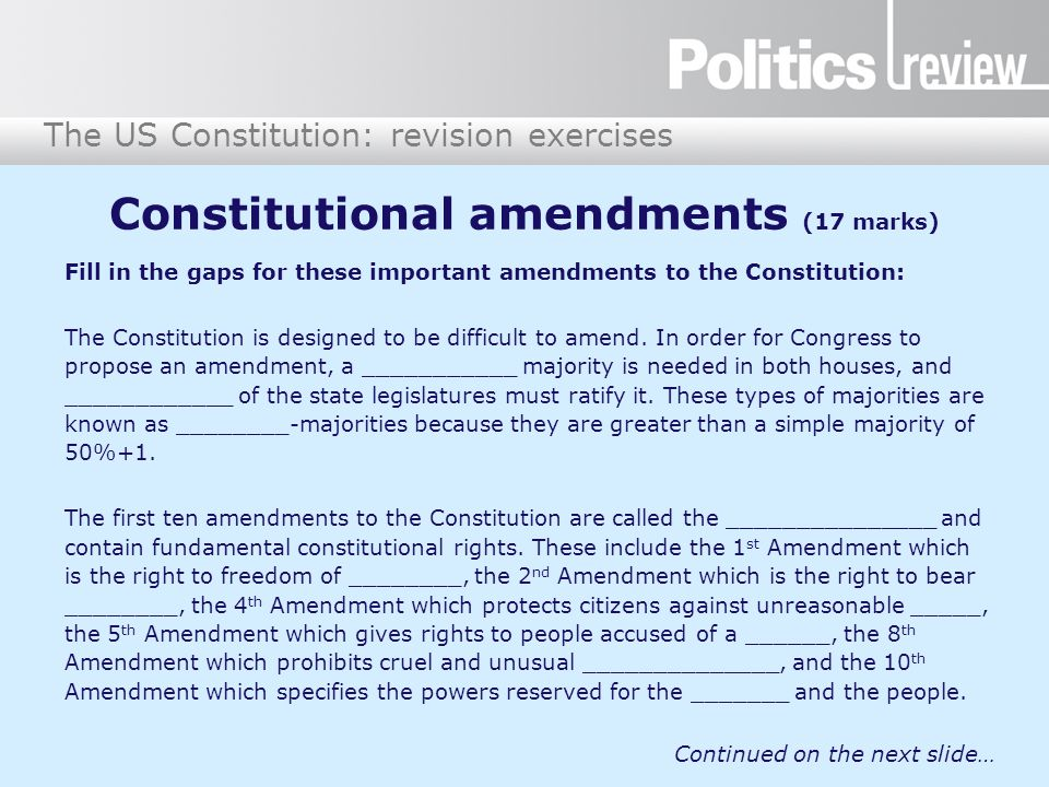Constitutional amendments (17 marks)