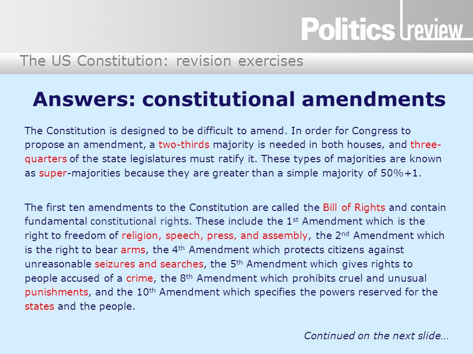 Answers: constitutional amendments