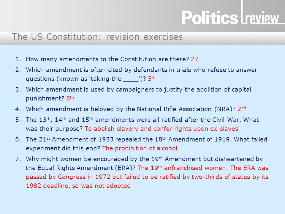 How many amendments to the Constitution are there 27
