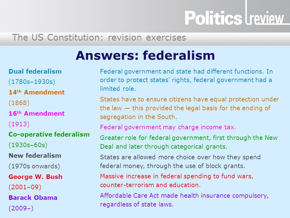 Answers: federalism Dual federalism (1780s–1930s) 14th Amendment