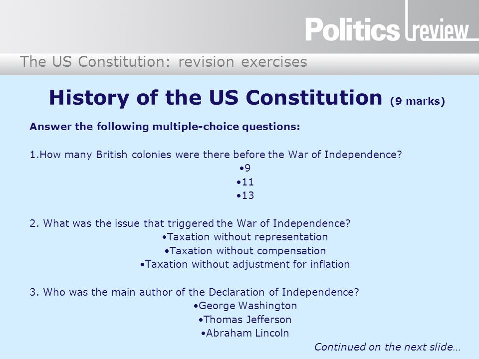 History of the US Constitution (9 marks)