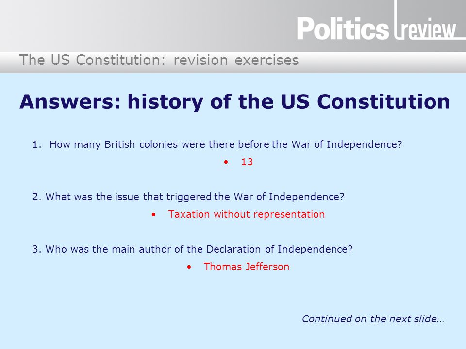 Answers: history of the US Constitution