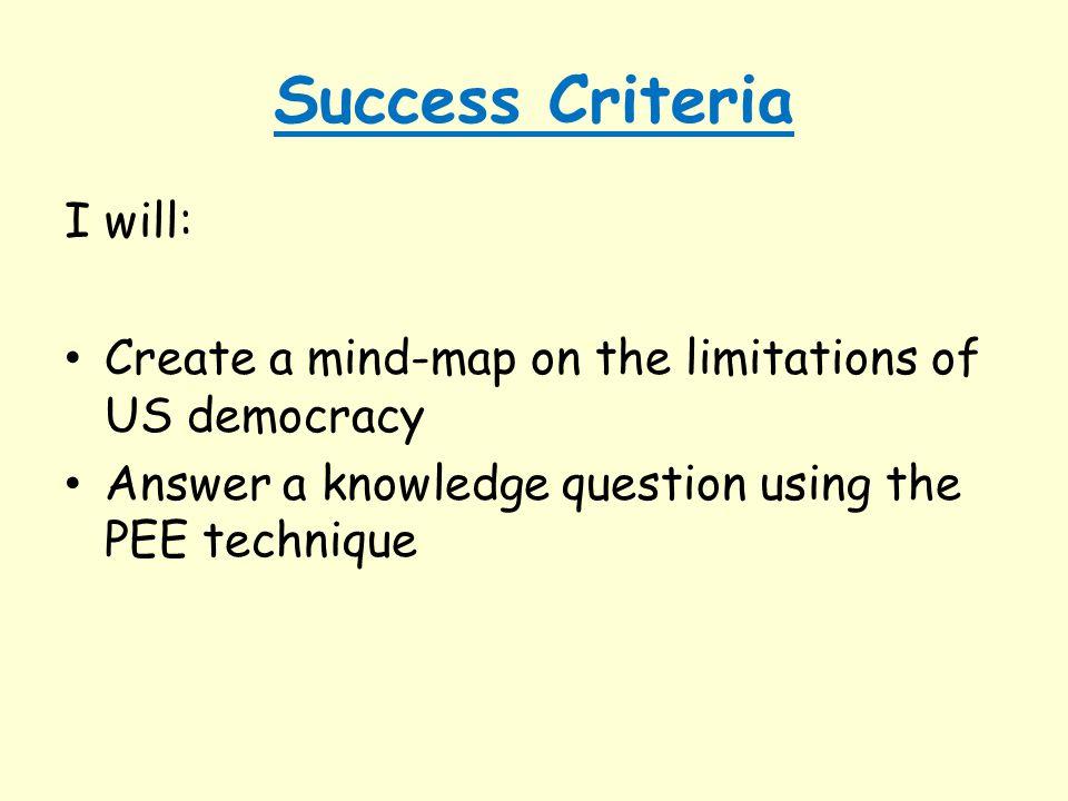 Success Criteria I will: