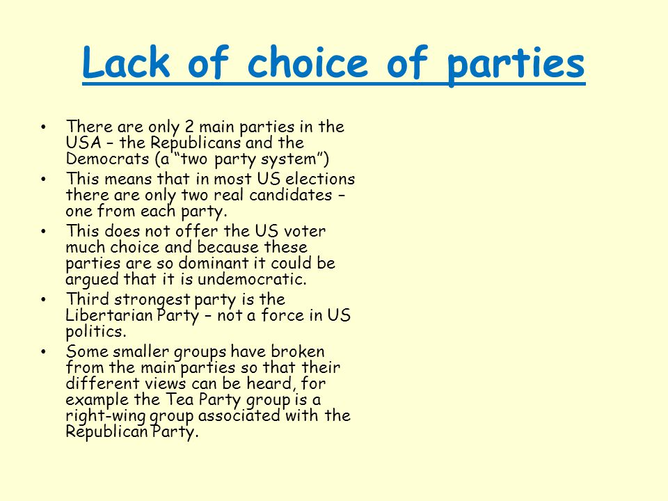 Lack of choice of parties