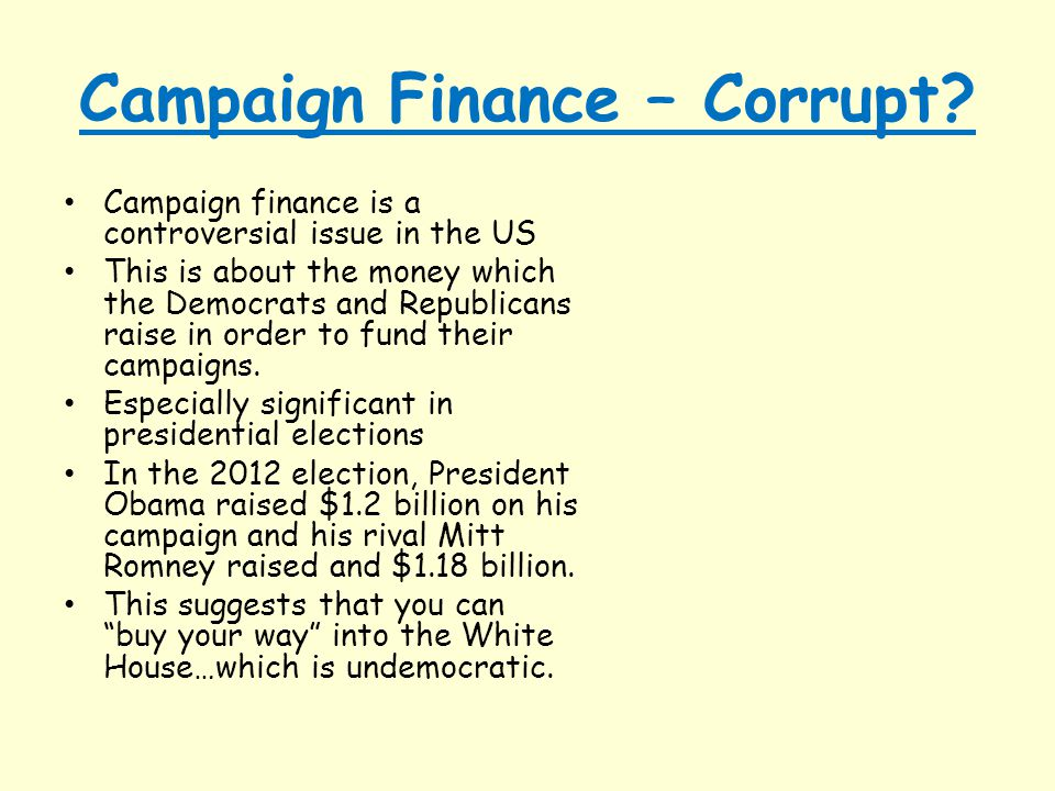 Campaign Finance – Corrupt