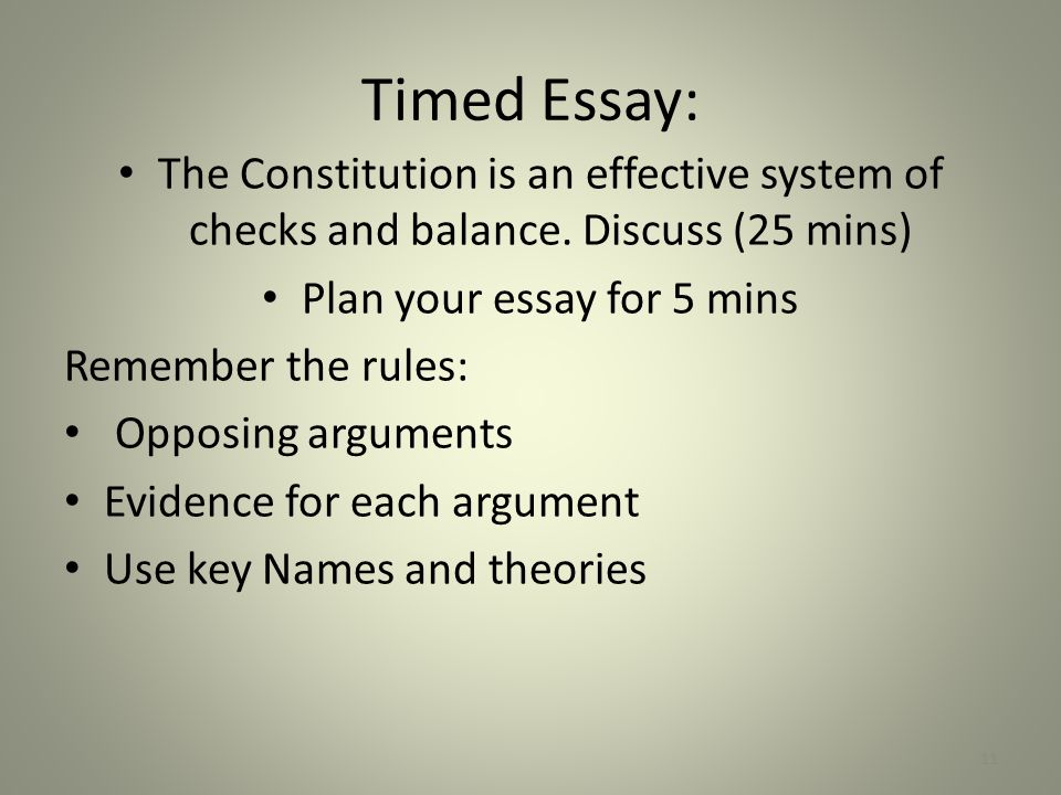 Plan your essay for 5 mins