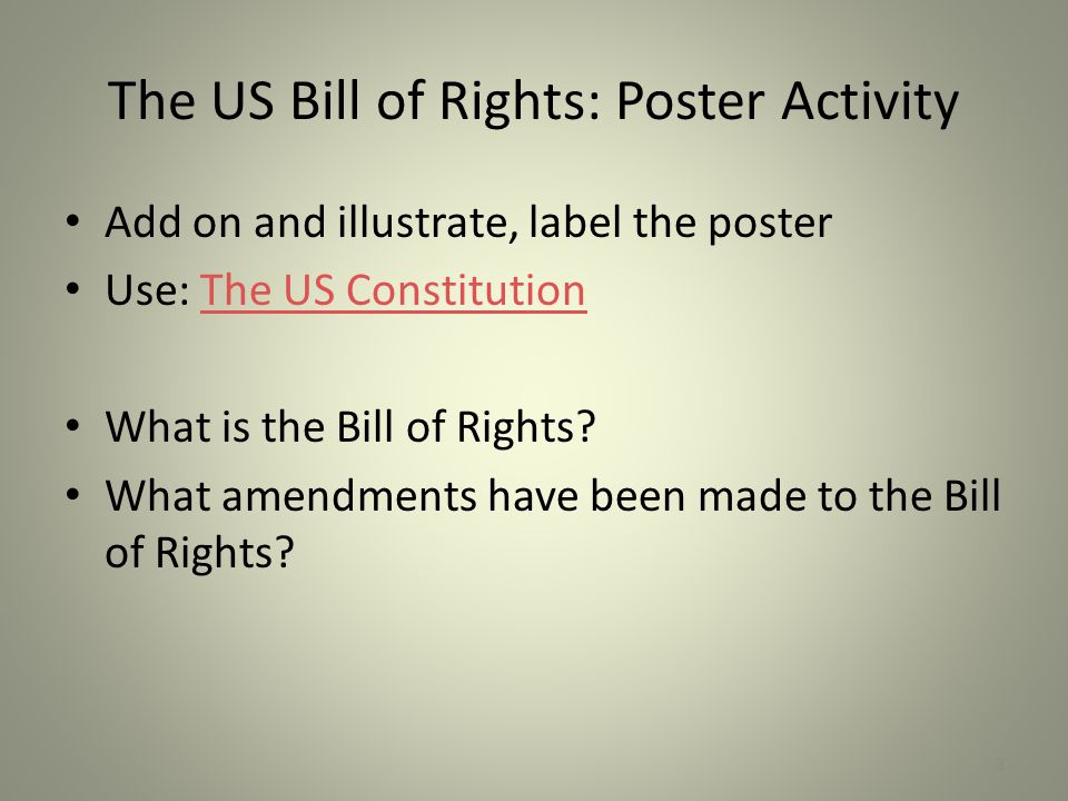 The US Bill of Rights: Poster Activity