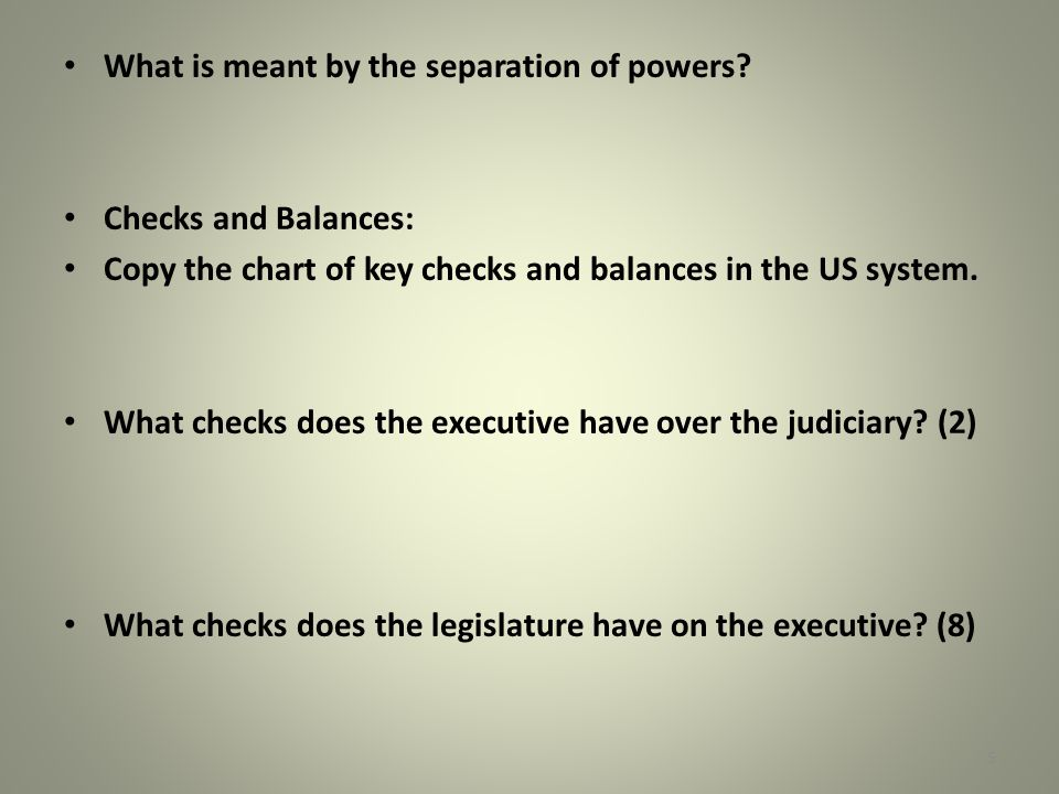 What is meant by the separation of powers