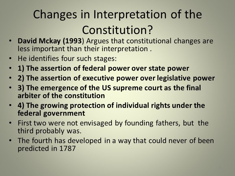 Changes in Interpretation of the Constitution