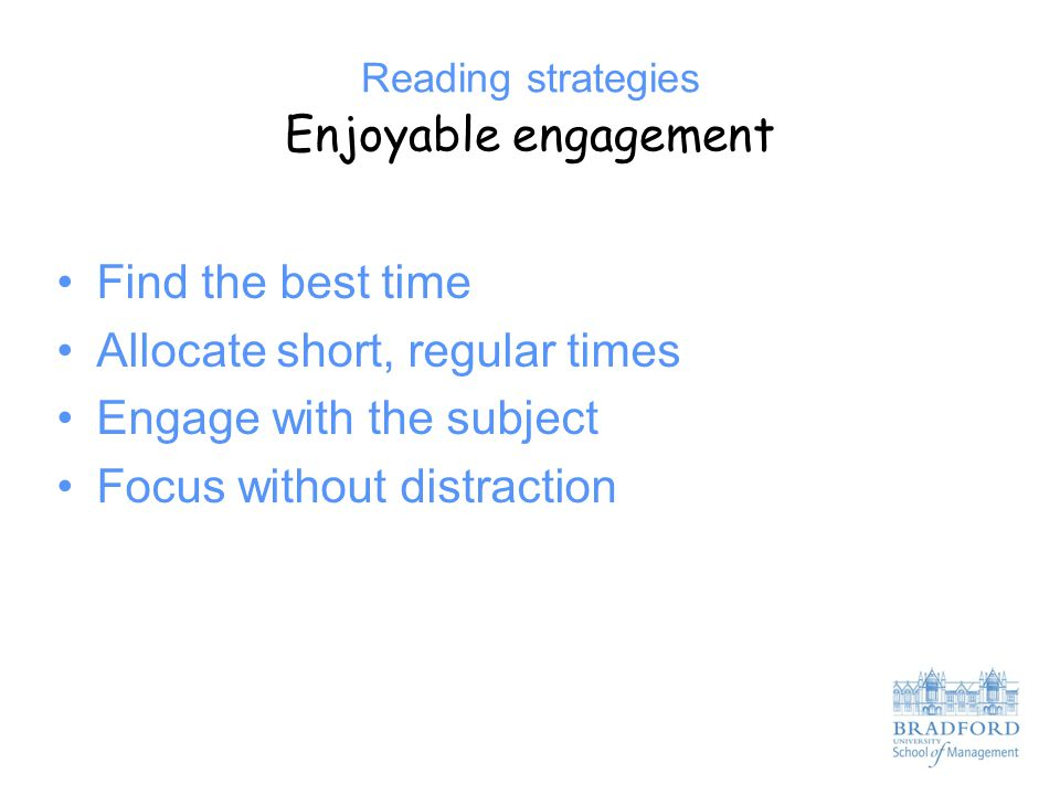 Reading strategies Enjoyable engagement