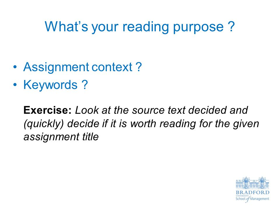 What's your reading purpose