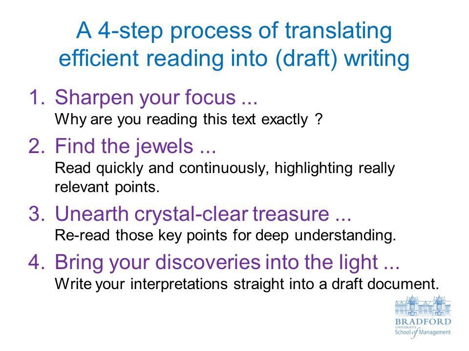A 4-step process of translating efficient reading into (draft) writing