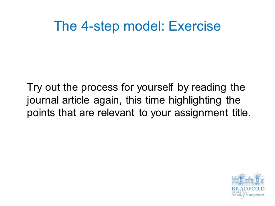 The 4-step model: Exercise